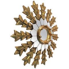 French Leaf Gold on Wood Sunburst Wall Mirror