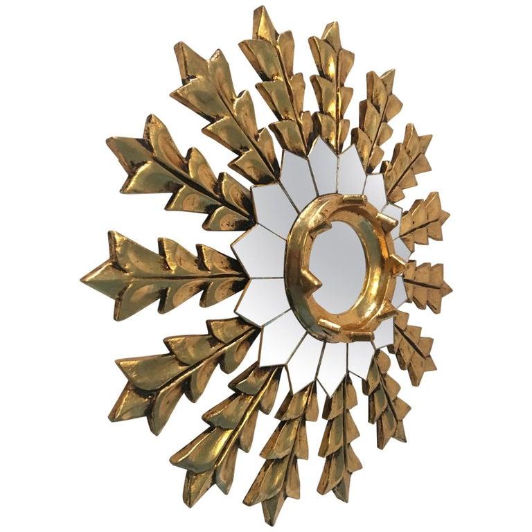 French Leaf Gold on Wood Sunburst Wall Mirror For Sale