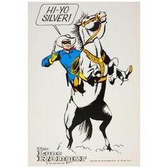 """Original Vintage """"Hi-Yo Silver"""" Poster The Lone Ranger Masked Comic Hero & Horse"""