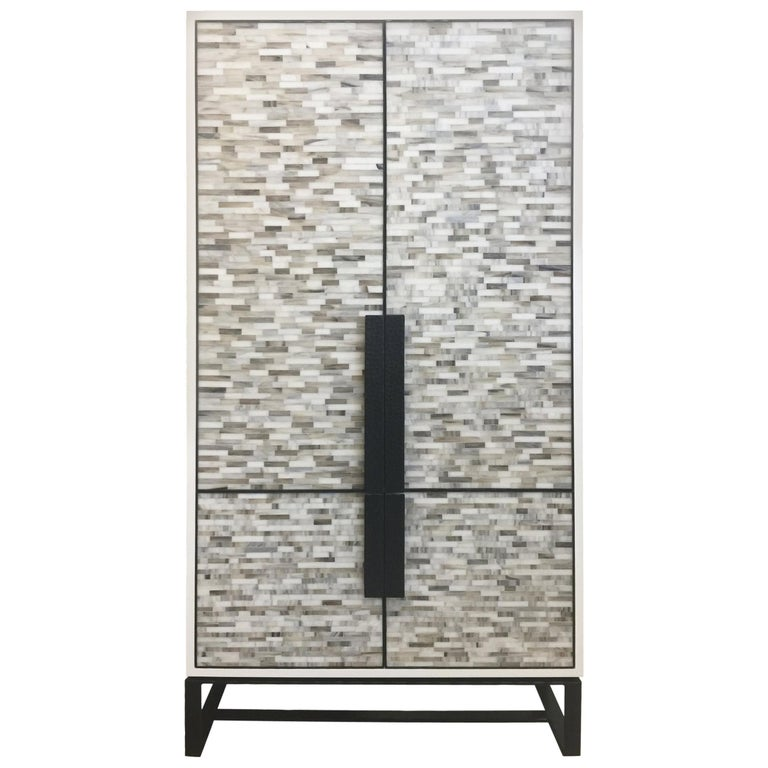 Customizable Chelsea Glass Mosaic Bar Cabinet with Hammered Metal Base by Ercole For Sale