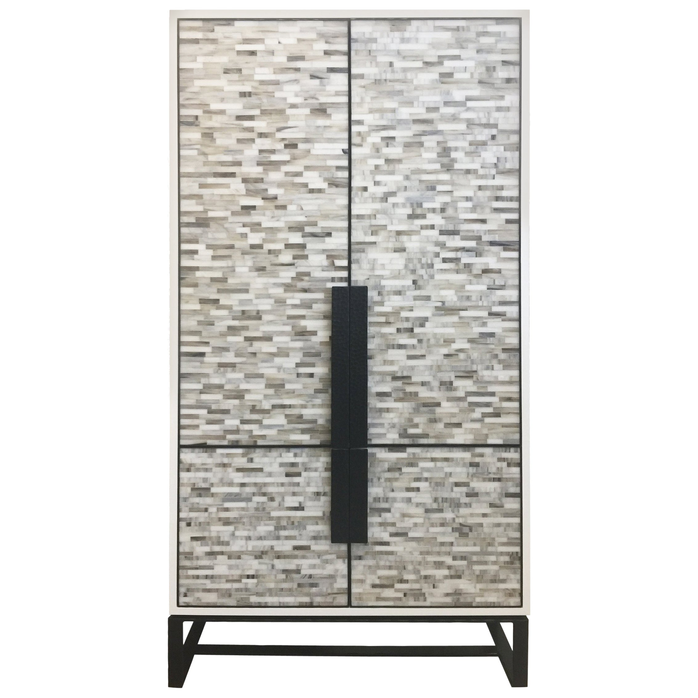 Customizable Chelsea Glass Mosaic Bar Cabinet with Hammered Metal Base by Ercole