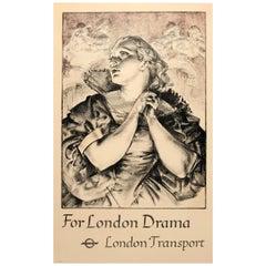 Original Vintage London Theatre Poster For London Drama London Transport