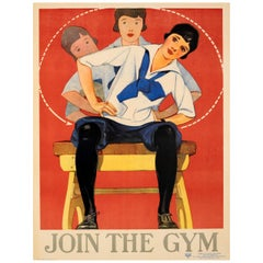 Original Vintage Sport Poster Promoting Health and Fitness - Join The Gym - YWCA