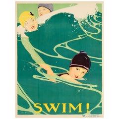 Original Vintage Sport Poster - Swim - Social Education National Board YWCA