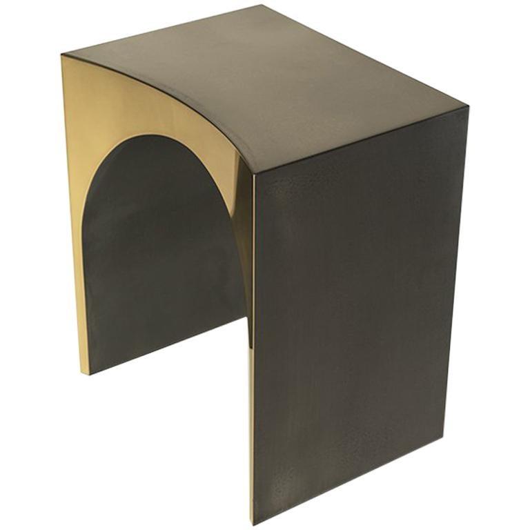 Sachin Polished Brass and Liquid Metal Side Table