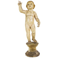 "18th Century Wood Sculpture ""Bambino Gesu"" with Eyes in Glass"