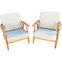 Pair of Original GE240 or 'Cigar' Chairs by Hans J Wegner for GETAMA