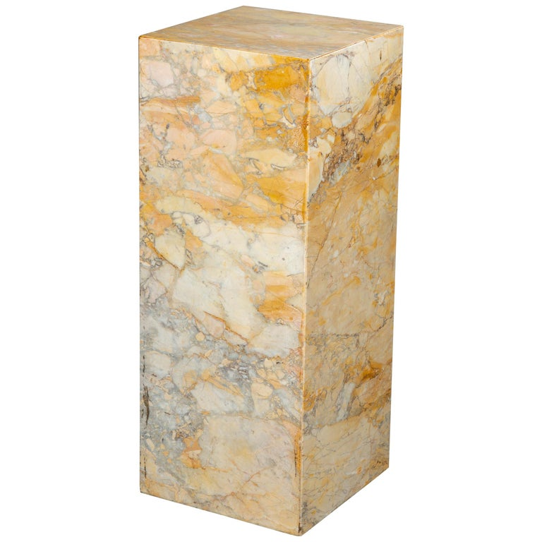 Ochre and Tan Midcentury Marble Italian Pedestal For Sale