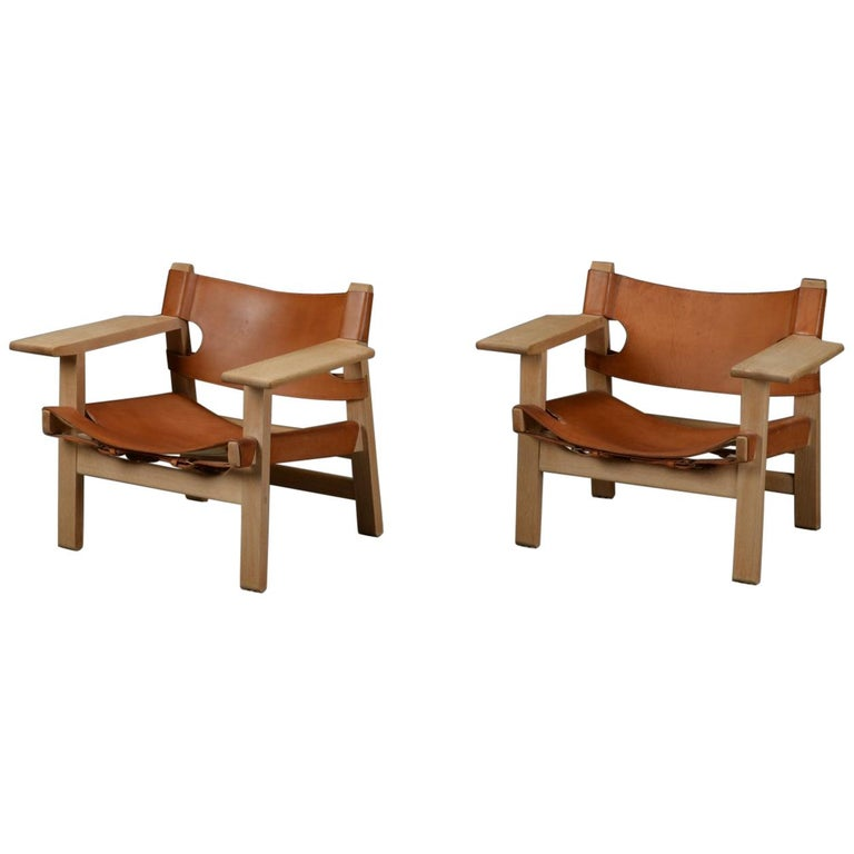 Pair of Vintage 'Spanish Chairs' by Børge Mogensen for Fredericia, Denmark