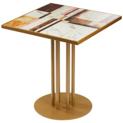 Dining Table Praga with Roma Feet and Printed Glass