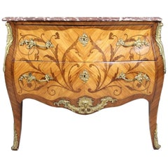 Louis XV/XVI Style Tulipwood, Kingwood, and Fruitwood Marquetry Commode