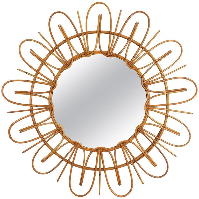 French Mid-Century Modern Rattan Flower Shaped Sunburst Mirror, France, 1960s