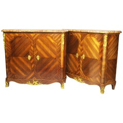 Pair of French Louis XV Style Tulipwood Slender Side-Cabinets Commodes