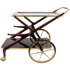 Italian Bar Cart Rosewood Cesare Lacca, Italy, 1950s