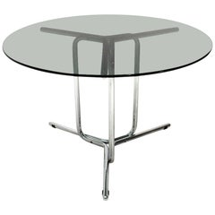Italian Midcentury Chromed Dining Table with Glass Top, 1970s