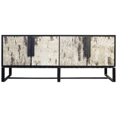 Customizable Dark Brown Birch Buffet with Hand Hammered Metal Base, Ercole Home
