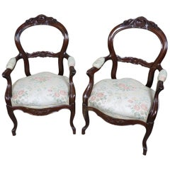 19th Century Italian Louis Philippe Mahogany Carved Pair of Armchairs