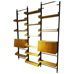 Italian Brass and Wood Adjustable Shelves Bookcase, 1950s