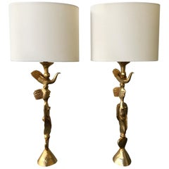 Pair of Gilt Bronze Lamps by Pierre Casenove for Fondica, France, 1980s
