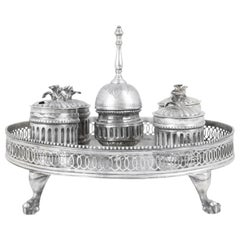 18th Century Silver Inkwell with Bell Dated Fused, Off and Cesellato, Punches