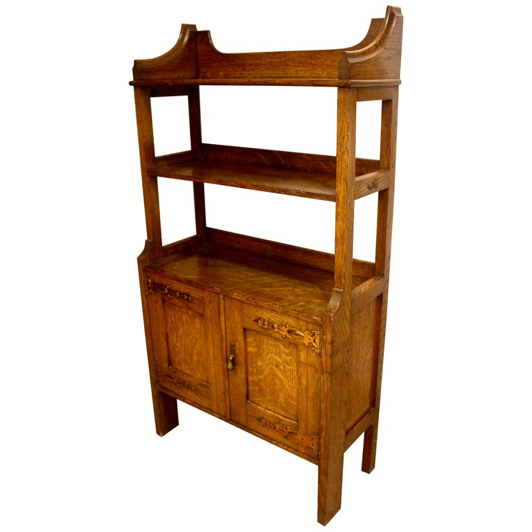 Arts & Crafts Oak and Copper Bookcase Cabinet, circa 1910