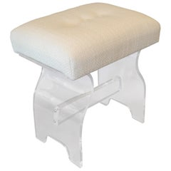 Mid-Century Modern Lucite Stool, Footstool, Vanity Stool in Boucle Fabric