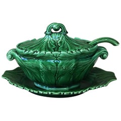 19th Century Green Victorian Spode Majolica Tureen with Ladle and Stand