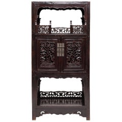 19th Century Chinese Trailing Vine Display Cabinet