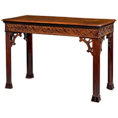 Chinese Chippendale Mahogany Console Table