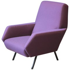 Reupholstered Italian Vintage Lounge Chair in Metal and Purple Fabric, 1950s