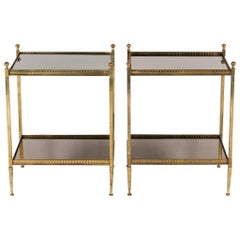 Pair of Italian Brass and Mirror Side Tables