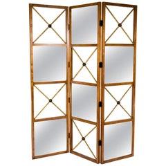 Three-Panel Neoclassical Style Mirrored Screen