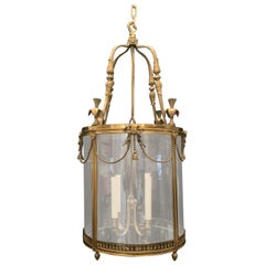 Wonderful French Ormolu Bronze Large Bow Ribbon Tassel Swag Four-Light Lantern