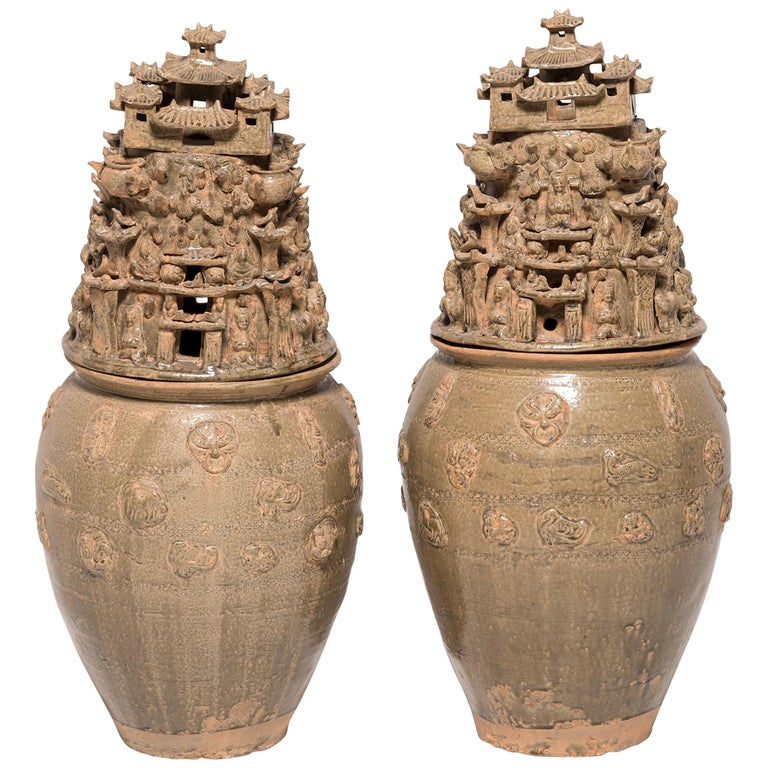 Pair of 19th Century Buddhist Temple Vessels For Sale
