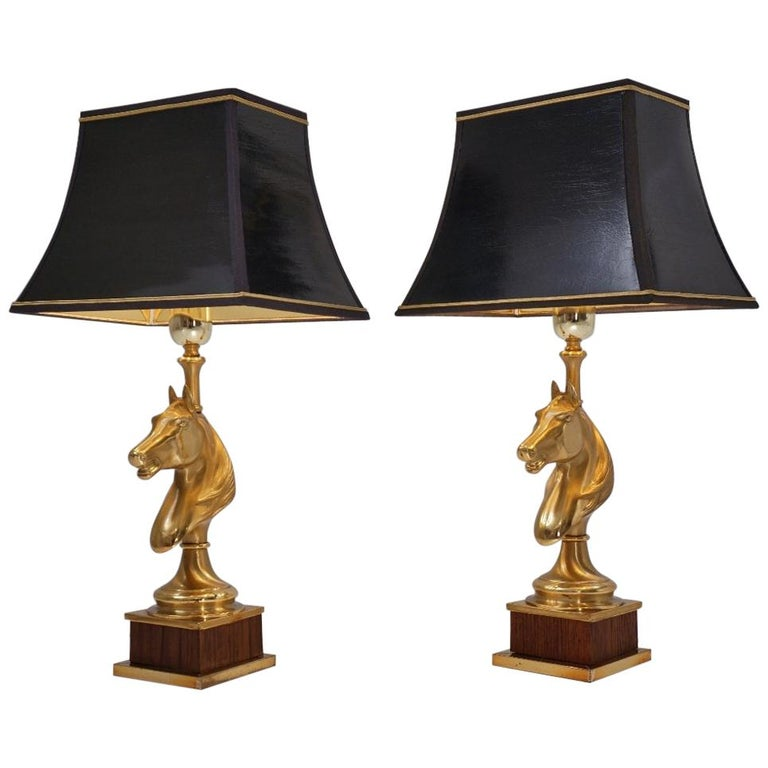 Maison Charles Horse Lamps Pair of Brass and Wood, circa 1970s, French For Sale