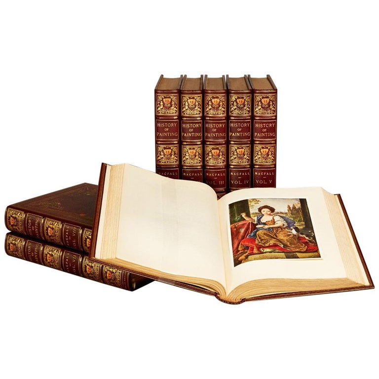 Books, a History of Painting, Antique Leather-Bound Collections