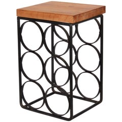 Arthur Umanoff Black Wrought Iron and Wood Six Bottle Rack, 1950s