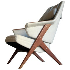 Newly Upholstered Midcentury Lounge Chair, Norway