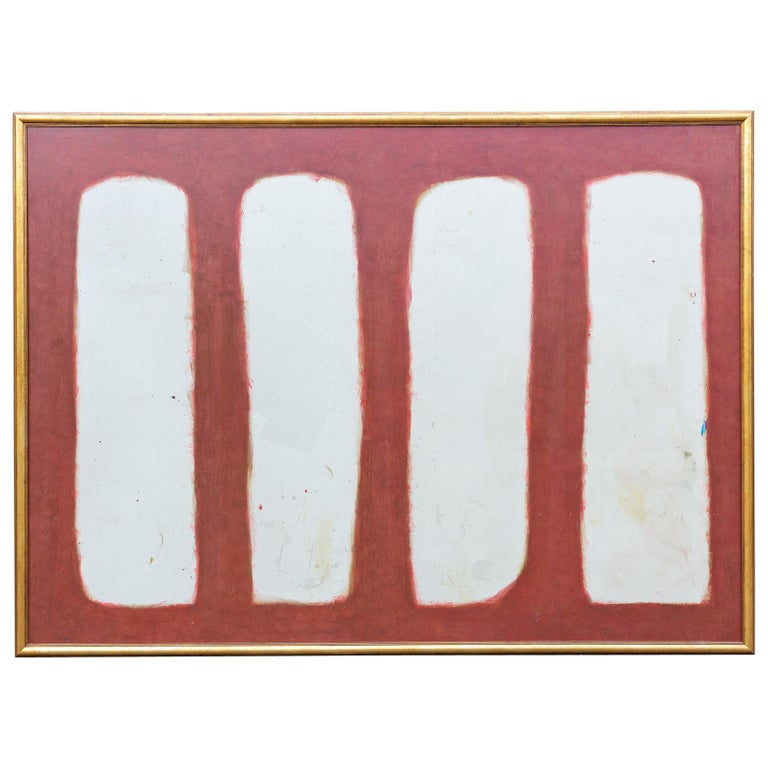 Vintage Large-Scale Abstract Art on Wood with Gilt Frame after ...