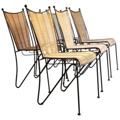 6 Pipsan Saarinen Swanson Iron and Cane Dining Chairs Attributed to Ficks Reed