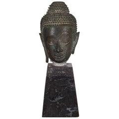 19th Century Sukhothai Bronze Head of Buddha Shakyamuni on Marble Base