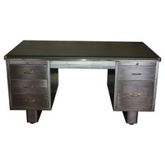 Vintage Industrial Stripped Metal Twin Pedestal Tanker Desk Office Desk