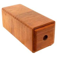 Danish Modern Solid Teak Dovetail Trinket Box with Drawer