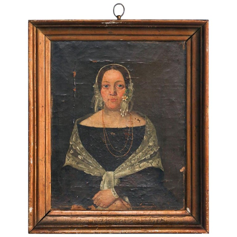 Antique Original Oil on Canvas Small Portrait of Woman in Black with Lace Shawl