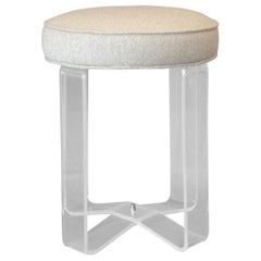 Hollywood Regency Round Lucite Stool Crissed-Cross Legs and Fabric Seat