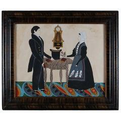 Antique American Pennsylvania Dutch Folk Art Painting, Courting Couple