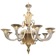 Mid-Century Modern Italian Leaf Clear Gold Murano Art Glass Large Chandelier