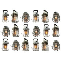 Mid-20th Century European Industrial Mining Cage Lighting