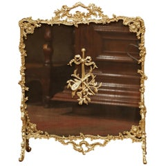 19th Century French Louis XV Gilt Bronze Fire Screen with Musical Mounts