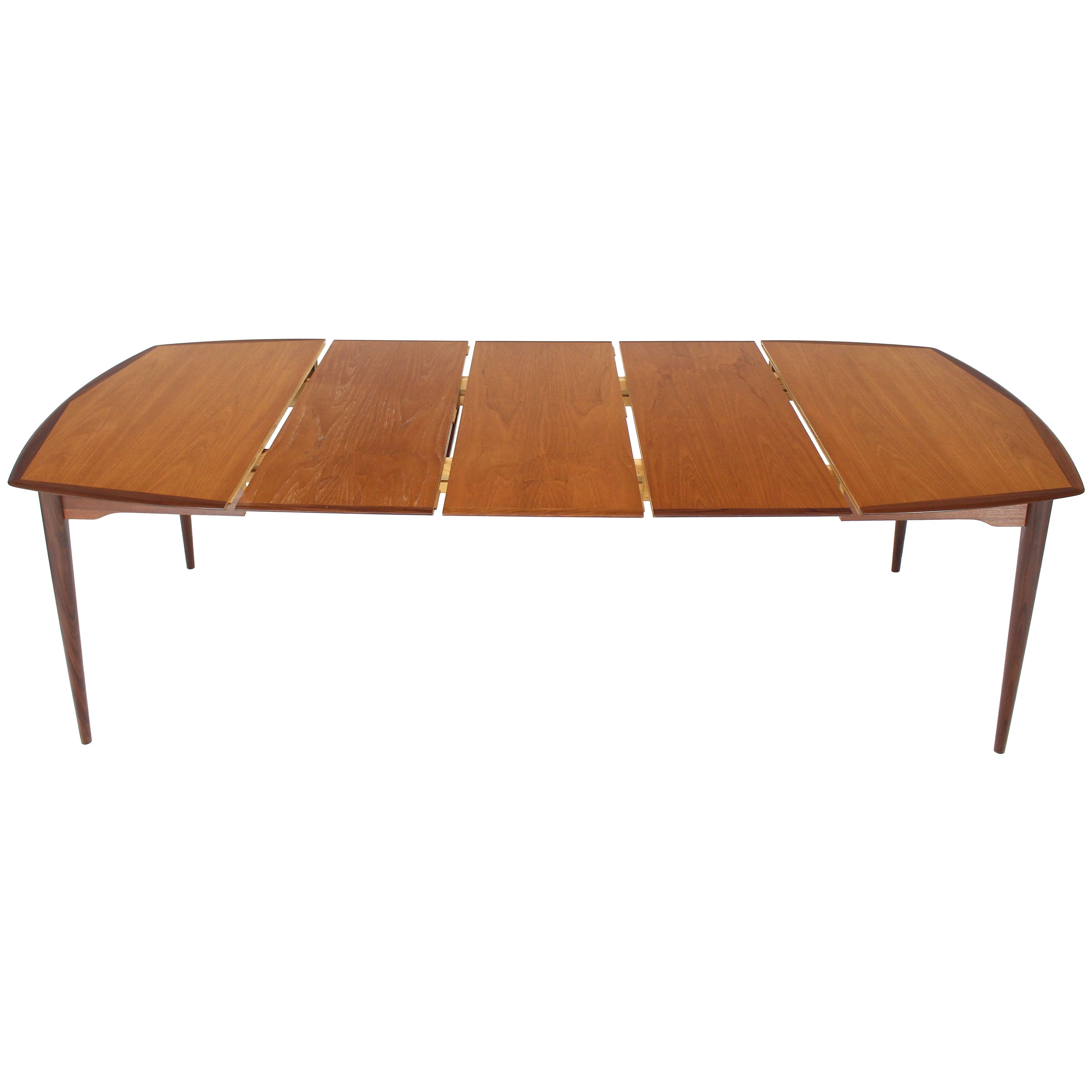 Danish Modern Square Two-Tone Teak Dining Table with 3 Leaves